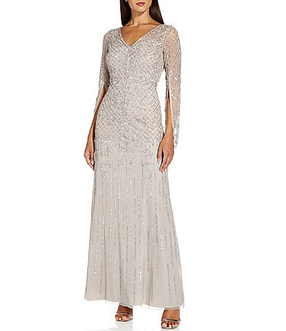 Adrianna Papell Long Split Sleeve Beaded Mesh Mermaid Gown