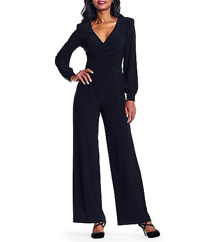 Adrianna Papell Matte Jersey Draped Surplice V-Neck Long Bishop Sleeve Jumpsuit