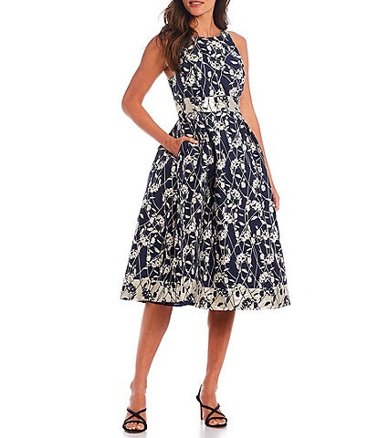 Adrianna Papell Metallic Brocade Contrast Fit and Flare Midi Dress