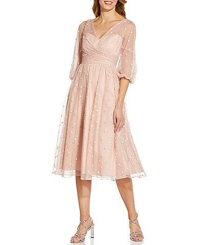 Adrianna Papell V-Neck 3/4 Sleeve Metallic Dot Faux Wrap Midi Dress