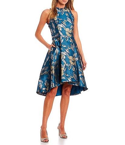 Adrianna Papell Metallic Floral Sleeveless Ruffle Halter Neck High-Low Dress