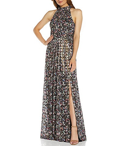 Adrianna Papell Metallic Foiled Floral Sleeveless Printed Chiffon Halter Gown