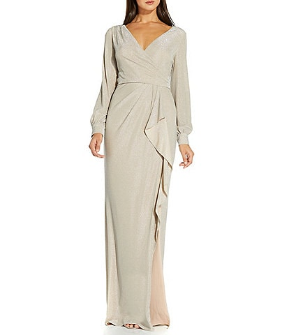 Adrianna Papell Metallic Knit Faux Wrap Surplice V-Neck Long Sleeve Ruffle Gown