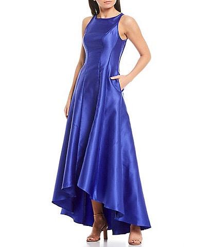 Adrianna Papell Mikado Faux Silk Sleeveless Hi-Low Gown