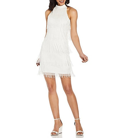 Adrianna Papell Mock Neck Beaded Fringe Shift Dress