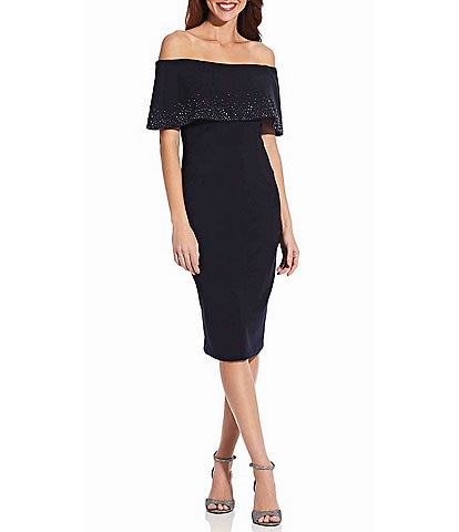 Adrianna Papell Off The Shoulder Beaded Cuff Crepe Sheath Midi Dress