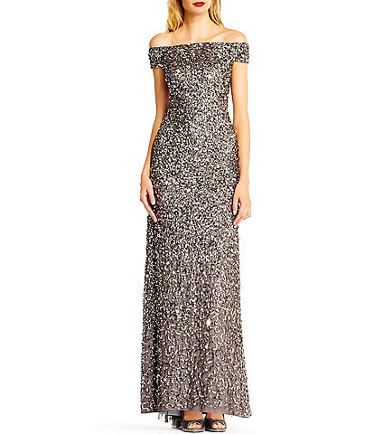 Adrianna Papell Off-The-Shoulder Cap Sleeve Beaded Gown