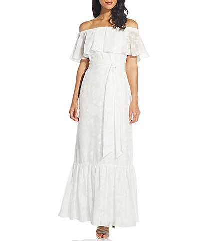 Adrianna Papell Off-The-Shoulder Floral Chiffon Jacquard Maxi Dress