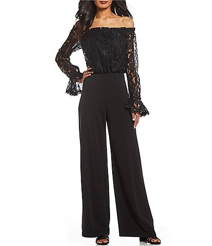 Adrianna Papell Off-the-Shoulder Lace Bodice Jumpsuit