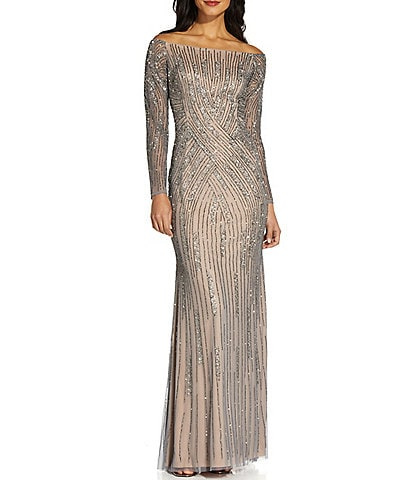 Adrianna Papell Off-the-Shoulder Long Sleeve Beaded Mesh Gown