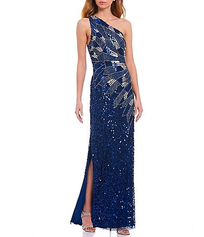 Adrianna Papell One Shoulder Allover Beaded & Sequin Gown