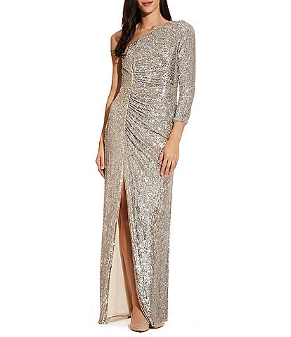 Adrianna Papell One Shoulder Allover Sequin Front Slit Gown