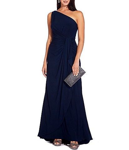 Adrianna Papell One Shoulder Matte Jersey Draped Gown