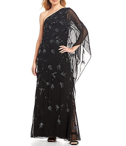 Adrianna Papell One Shoulder Sequin Beaded Detail Chiffon Gown
