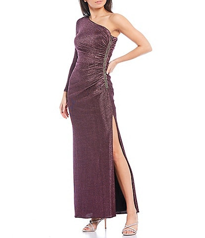 Adrianna Papell One Sleeve Sequin Metallic Knit Side Pleat High Slit Gown