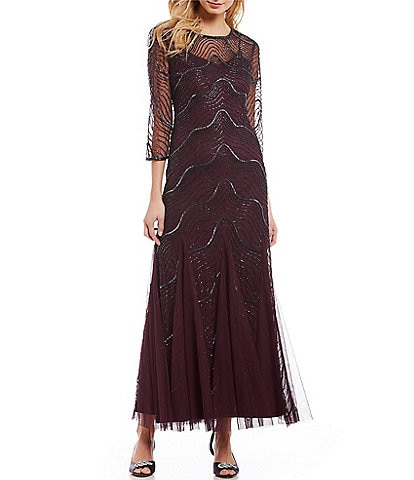 Adrianna Papell Petite Short Sleeve Deco Beaded Godet Gown