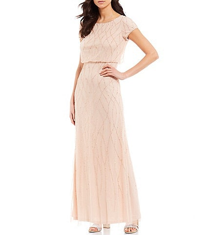 Adrianna Papell Petite Size Beaded Short Sleeve Blouson Gown