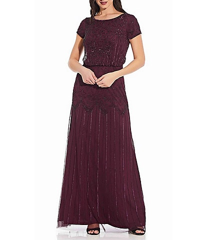 Adrianna Papell Petite Size Boat Neck Short Sleeve Blouson Beaded Gown