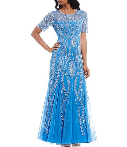 Adrianna Papell Petite Size Illusion Neck Short Sleeve Beaded Mermaid Gown