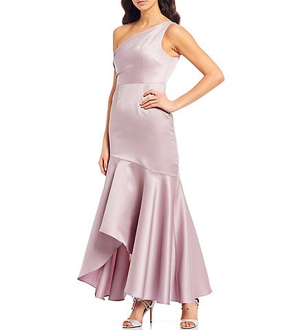 Adrianna Papell Petite Size One Shoulder Flounce Hem Hi- Low Gown