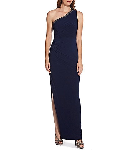 Adrianna Papell Petite Size One Shoulder Jersey Column Gown