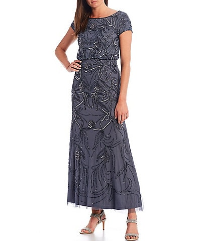 Adrianna Papell Petite Size Short Sleeve Beaded Blouson Gown