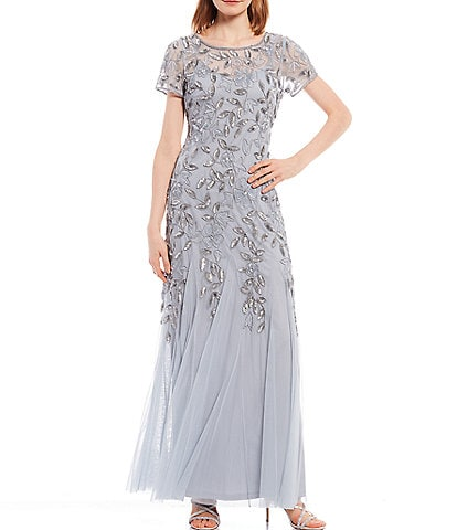 Adrianna Papell Petite Size Short Sleeve Floral Beaded Gown