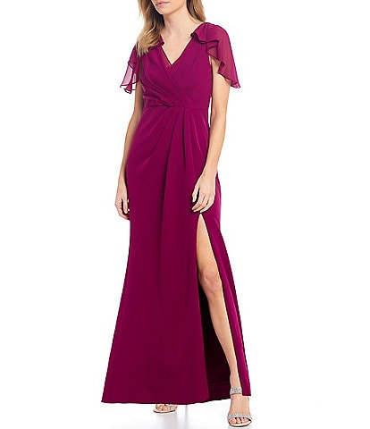 Adrianna Papell Petite Size Stretch Crepe Drape Flutter Sleeve Front Slit Gown