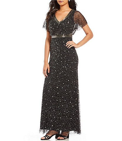 Adrianna Papell Petite Size V-Neck Beaded Sheath Gown