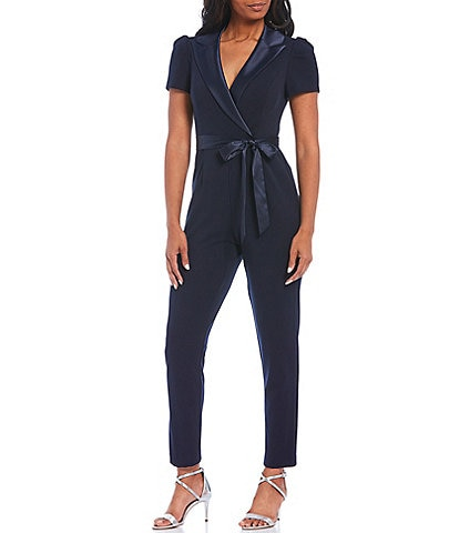 Adrianna Papell Petite Size V-Neck Short Sleeve Tie Waist Detail Crepe Jumpsuit