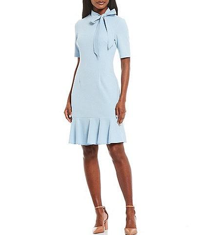 Adrianna Papell Contrast Trim Tie Neck Flounce Hem Short Sleeve Crepe A-Line Dress