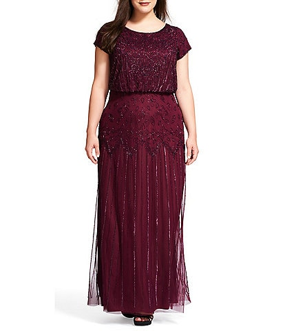 Adrianna Papell Plus Size Beaded Bodice Short Sleeve Blouson Gown