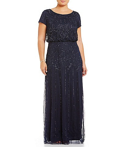 aa2111606d1a Adrianna Papell Plus Beaded Bodice Blouson Gown