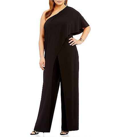 Adrianna Papell Plus One-Shoulder Crepe Jumpsuit