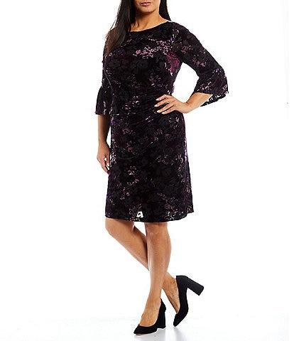 Adrianna Papell Plus Size Printed Velvet Burnout Round Neck 3/4 Flounce Sleeve Draped Sheath Dress