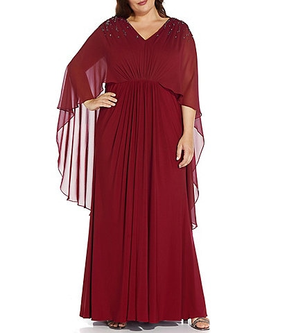 Adrianna Papell Plus Size 3/4 Sleeve Beaded Chiffon V-Neck Capelet Gown