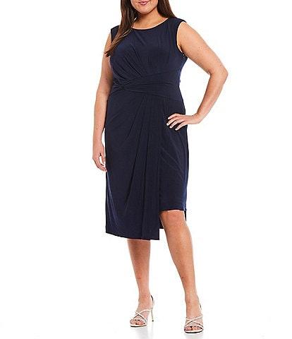 Adrianna Papell Plus Size Asymmetric Draped Jersey Bateau Neck Sleeveless Midi Dress