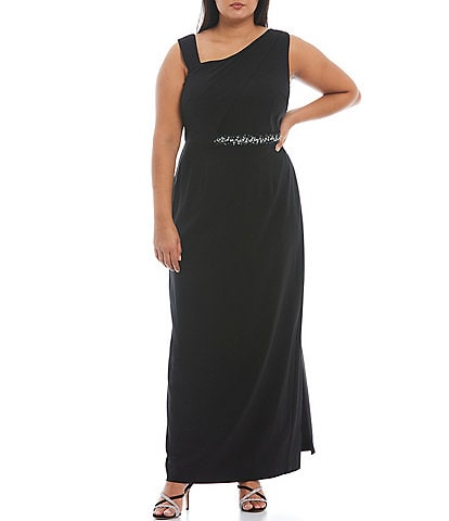Adrianna Papell Plus Size Asymmetric One-Shoulder Neck Sleeveless Crepe Gown