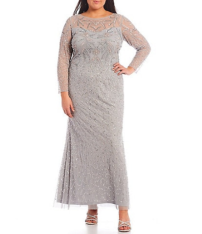 Adrianna Papell Plus Size Boat Neck Beaded Mesh 3/4 Sleeve Gown