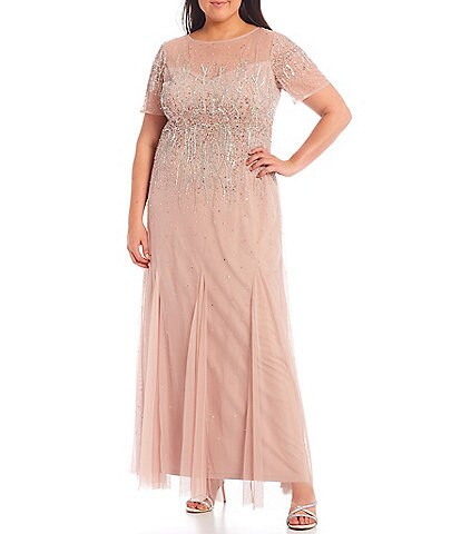 Adrianna Papell Plus Size Beaded Mesh Short Sleeve Illusion Jewel Neck Mermaid Gown