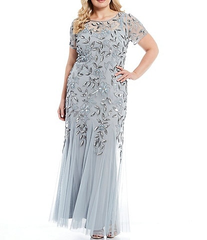 Adrianna Papell Plus Size Floral Beaded Jewel Neck Short Sleeve Gown