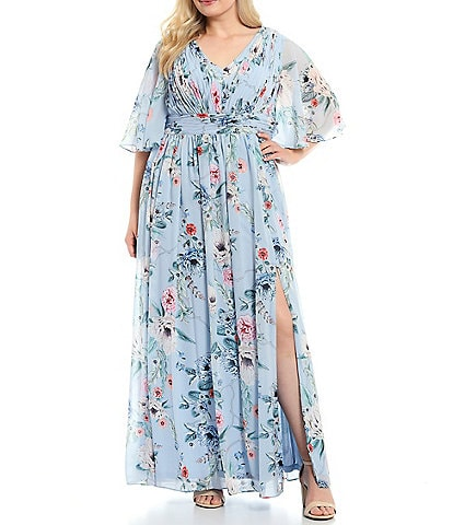 Adrianna Papell Plus Size Floral Chiffon Gown