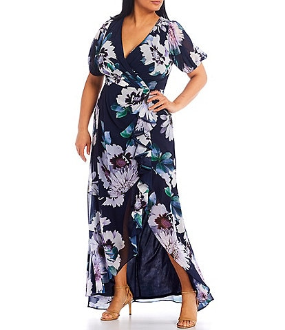 Adrianna Papell Plus Size Floral Chiffon V-Neck Gown