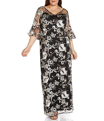 Adrianna Papell Plus Size Floral Embroidered V-Neck Elbow Bell Sleeve Gown