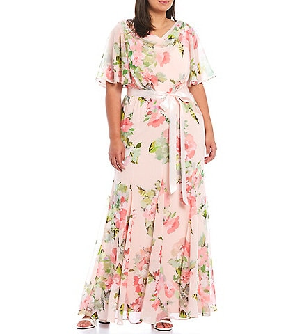 Adrianna Papell Plus Size Flutter Sleeve Cowl Back Floral Chiffon Gown