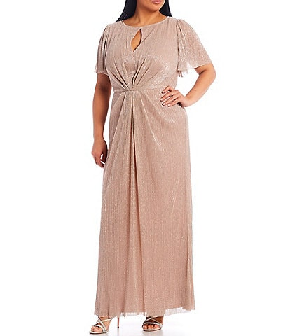 Adrianna Papell Plus Size Flutter Sleeve Crinkle Metallic Pleated Mermaid Glitter Gown