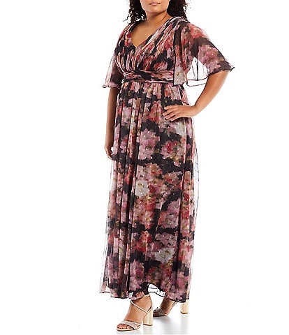 Adrianna Papell Plus Size Flutter Short Sleeve V-Neck Watercolor Printed Metallic Chiffon Draped Gown