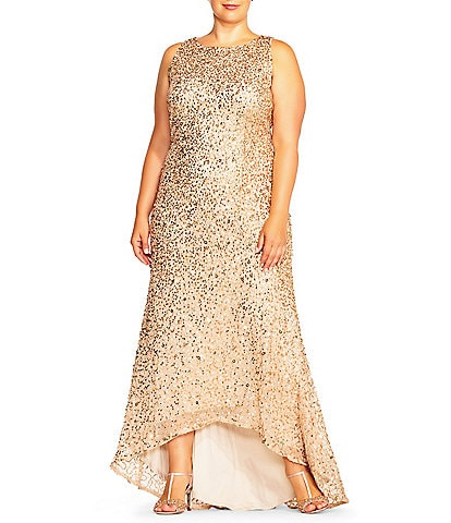 Adrianna Papell Plus Size Halter Hi-low Beaded Gown