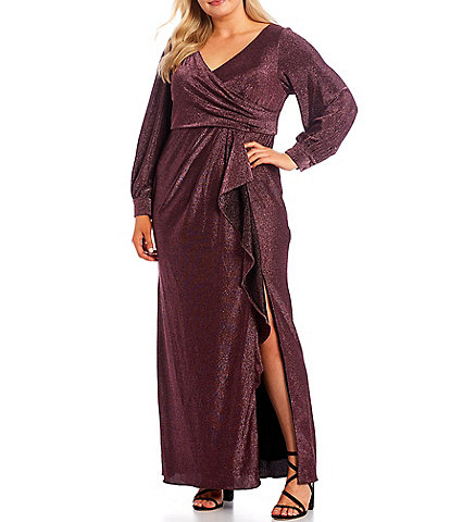 Adrianna Papell Plus Size V-Neck Long Sleeve Side Ruffle Metallic Knit Gown