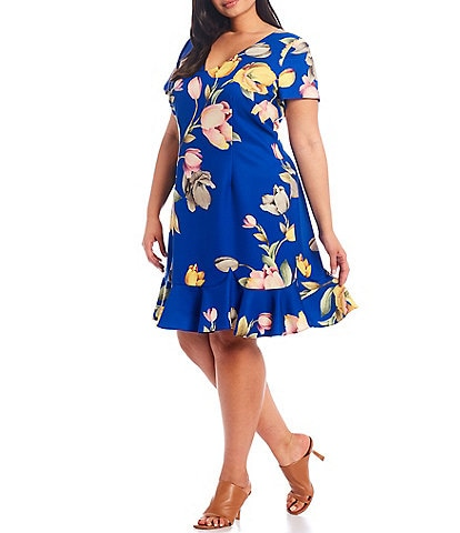 Adrianna Papell Plus Size Short Sleeve Tulip Floral Printed V-Neck Aline Dress